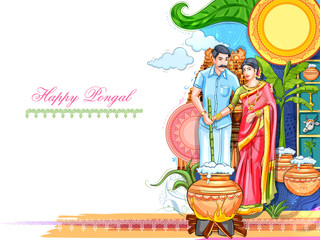 Wall Mural - illustration of Happy Pongal Holiday Harvest Festival of Tamil Nadu South India greeting background