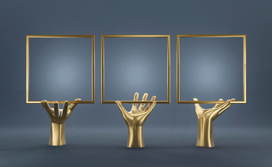 Abstract Gold Hand With Blank Frame Mock Up Figure For Advertising, 3D render.