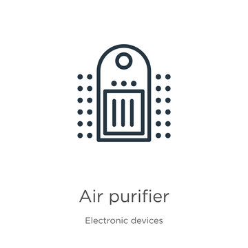 Air purifier icon. Thin linear air purifier outline icon isolated on white background from electronic devices collection. Line vector sign, symbol for web and mobile