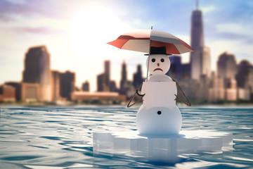 activist snowman manifesting against global warming