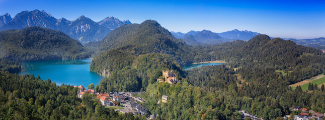 Foto auf Acrylglas Khaki View to the village Hohenschwangau with Alpsee lake and Schwansee lake and the Allgaeu alps, Bavaria, Germany