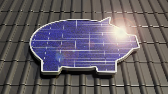 3D render: A solar panel in the form of a piggybank on a roof. Concept for saving money with your own solar energy plant. Sun flares.