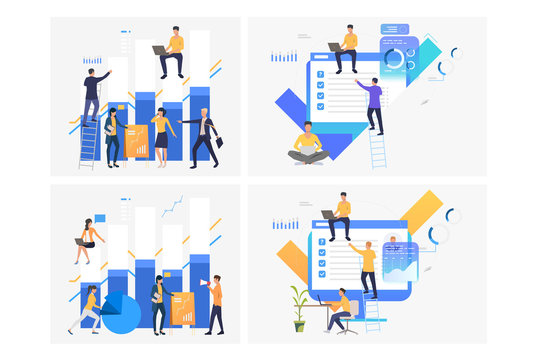 Analyzing reports set. Business group working on bar chart, survey results, presentation. Flat vector illustrations. Business, marketing concept for banner, website design or landing web page