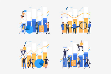 Businesspeople analyzing bar charts set. Analysis, report presentation, professionals. Flat vector illustrations. Business, marketing concept for banner, website design or landing web page