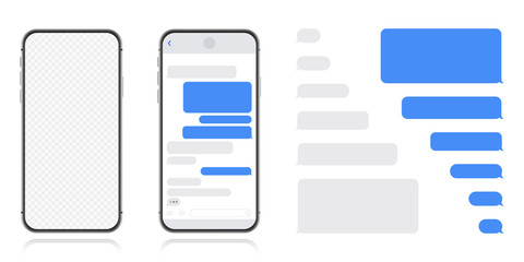 Smart Phone with messenger chat screen. Sms template bubbles for compose dialogues. Modern vector illustration flat style.