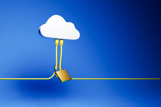 3D render: Cloud Computing Security Concept - Two Ethernet Cables plugged into a symbolic cloud. A lock around the cables. Blue background.