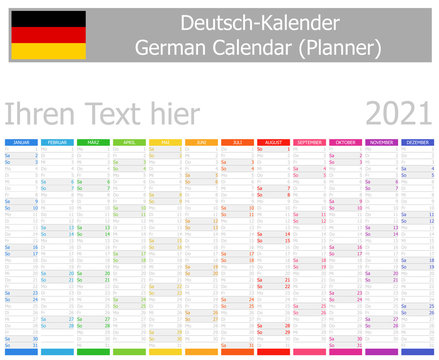 2021 German Planner Calendar with Vertical Months on white background