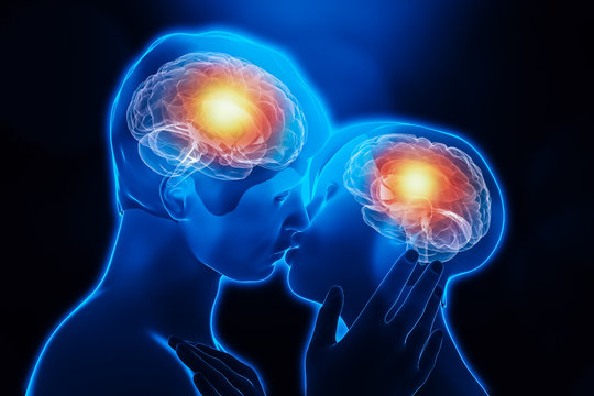 Man and woman couple kissing body chemistry. Brain activity in the limbic system. Love, emotion, interaction, partnership, neuroscience, psychology, science conceptual 3d rendering illustration.
