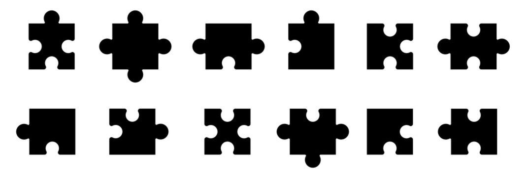 Puzzle jigsaw on white background. Vector illustration