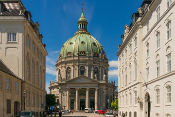 The majestic Frederik's Church in Copenhagen with it's impressive dome, also known as the Marble Church.