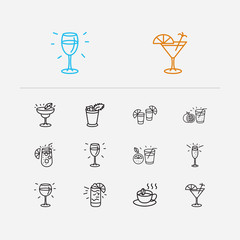 Drink icons set. Margarita cocktail and drink icons with gin fizz, orange juice and white wine. Set of merlot for web app logo UI design.