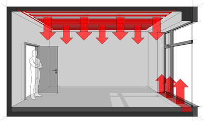 3d illustration of  empty room with door and tall french window and standing man in the opened door and ceiling heating and floor convector for heating in front of window