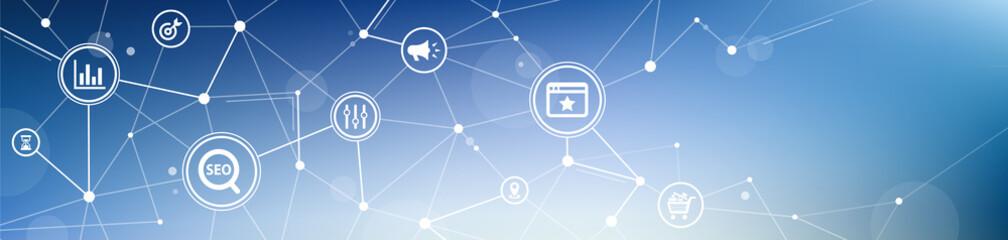 SEO icon concept: search engine optimization / online marketing / web traffic  – vector illustration
