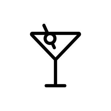 a glass of martini icon vector. A thin line sign. Isolated contour symbol illustration