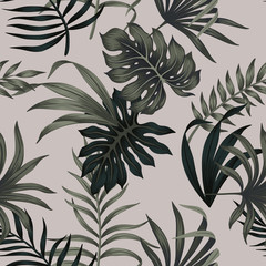 Tropical floral foliage dark green palm leaves seamless pattern grey background. Exotic jungle wallpaper.