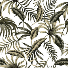 Tropical floral foliage dark green palm leaves seamless pattern white background. Exotic jungle wallpaper.