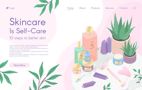Web page design template for skin care treatment,beauty routine tutorial,spa,wellness,natural products,cosmetics,self care.Vector illustration concept for website, mobile website.Landing page layout.