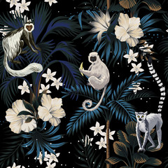 Tropical vintage night landscape, dark palm trees, hibiscus plumeria flower, palm leaves, stars, wild animal floral seamless pattern black background. Exotic jungle wallpaper.