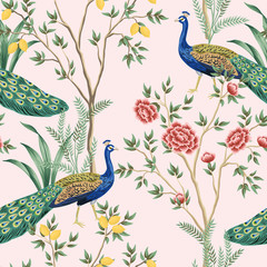 Vintage garden lemon fruit tree, plant, exotic peacock floral seamless pattern pink background. Exotic chinoiserie wallpaper.
