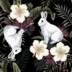 Tropical vintage dark, white hibiscus flower, palm leaves floral, rabbit animal seamless pattern black background. Exotic jungle wallpaper. - 312836141