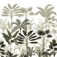 Tropikalny vintage botaniczny krajobraz, palmy, drzewa bananowe, rośliny kwiatowy bezszwowe granica białe tło. Tapeta egzotyczna zielona dżungla zwierząt. - 312836198