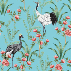 Vintage garden rose tree, plant, crane bird floral seamless pattern blue background. Exotic chinoiserie wallpaper.