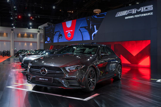 BANGKOK, THAILAND : March 26, 2019 – Mercedes Benz E200 Coupe on display in 40th Bangkok International Motor Show 2019 at Muang Thong Thani, Thailand