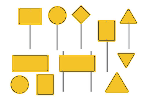 Blank road yellow traffic signs on white background. vector illustration