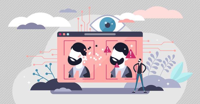Deepfake vector illustration. Fake media method in tiny persons concept.