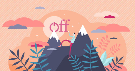 Offline vector illustration. Digital detox in flat tiny persons concept.