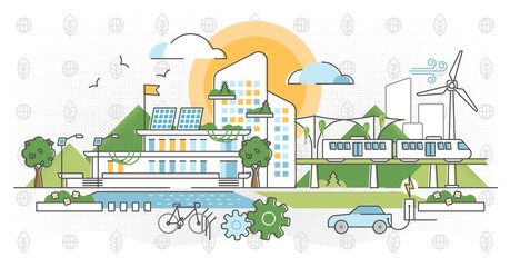 Green infrastructure vector illustration. Ecological city outline concept. Fototapete