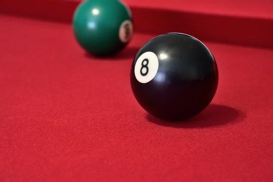 billiard balls on a table
