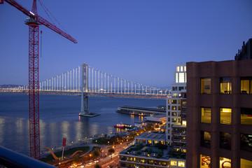 San Francisco Bay Bridge and Embarcadero at night