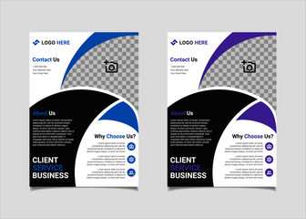 Business flyer template vector design, A4 brochure template blue and purple geometry shapes used for business poster layout, IT Company flyer, corporate banners, and leaflets