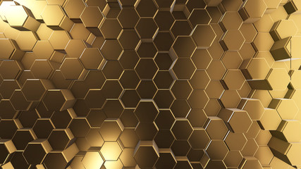 golden honeycombs, hexagon surface, abstract 3d background and texture, render image for internet...