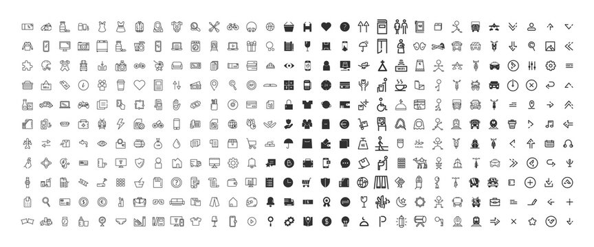 330 Icon outline and black solid bundle collection. vector design