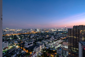 City view of the gigantic and densely populated capital of Thailand, Bangkok with its many residential and commercial skyscrapers and sprawling urban neighborhoods