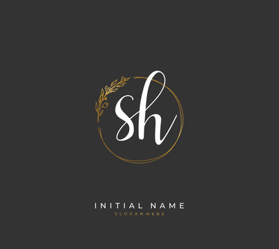 Handwritten letter S H SH for identity and logo. Vector logo template with handwriting and signature style.
