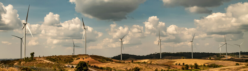panorama wind turbine on hill. energy power in nature. eco concept