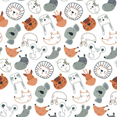 Vector seamless pattern with cute animal faces in simple scandinavian style.