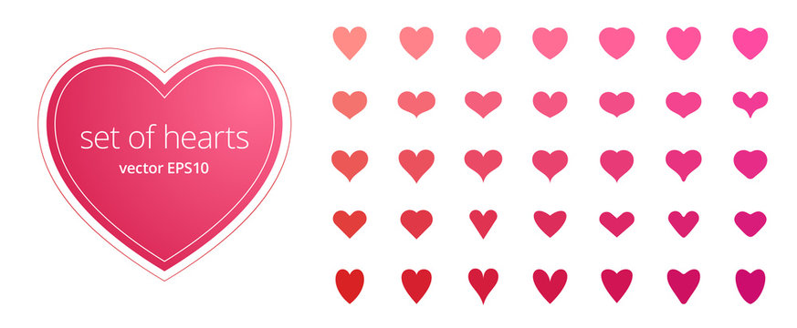 Vector set of hearts. Abstract symbols of love, passion, health. Different icons with narrow, pointed, wide, rounded and curved shapes. Various tints of pink and red. Flat stickers for Valentine's Day