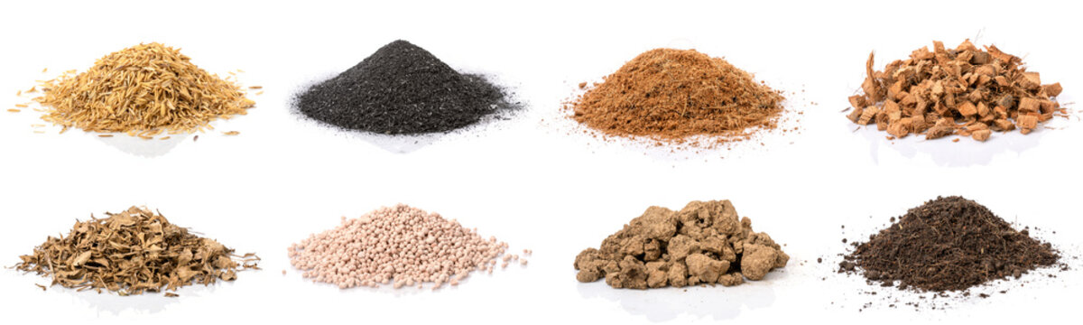 Set of material for growing the plant. Rice chaff, Black chafe, Coconut shells hair and spathe, Dry tree leaf, Chemical fertilizer, Pure Soil and mixed soil isolated on white