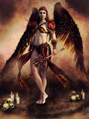 Fantasy scene with an angel holding a mace in her hand, standing among skulls and candles. 3D render. The model and other elements in the image are all 3D objects.