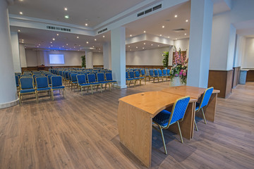 Interior of large conference meeting room in luxury hotel