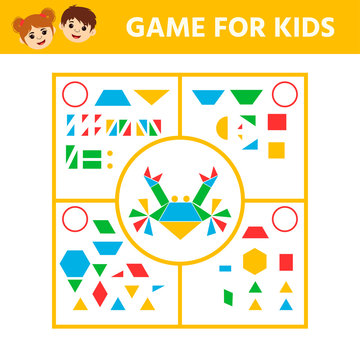 Education logic game for preschool kids. Connect the details and animals of geometric shapes. Preschool worksheet activity. Children funny riddle entertainment. Vector illustration