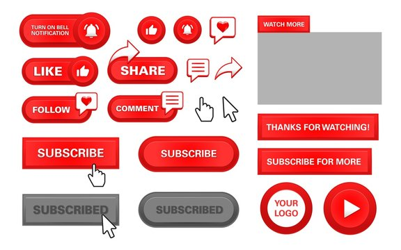 red play button set subscribe, follow, like, comment, share, watch more, notification bell, with arrow pointer for editing elements video content.