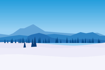 Autocollant pour porte Bleu Winter day landscape mountains woodland frosen lake river ice. Pine trees snow ice and hills