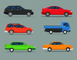 Poster Cartoon cars Detailed illustration of six colored cars in a flat style. Car icon set.