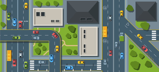City traffic top view flat vector illustration