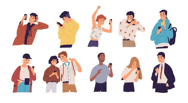 People with smartphones flat vector illustrations set. Different emotions, reaction to information concept. Men and women with mobile phones cartoon characters isolated on white background.